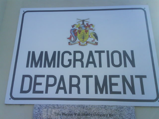File:Sign for the Barbados Immigration Department ...