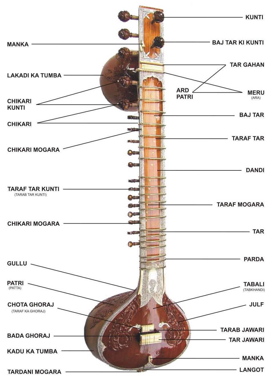 Parts of sitar