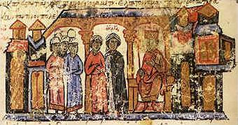 Olga with her son Svyatoslav in the Chronicle of Johannes Skylitzes