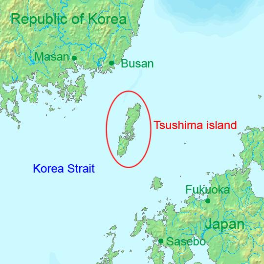 Localización de las islas Tsushima