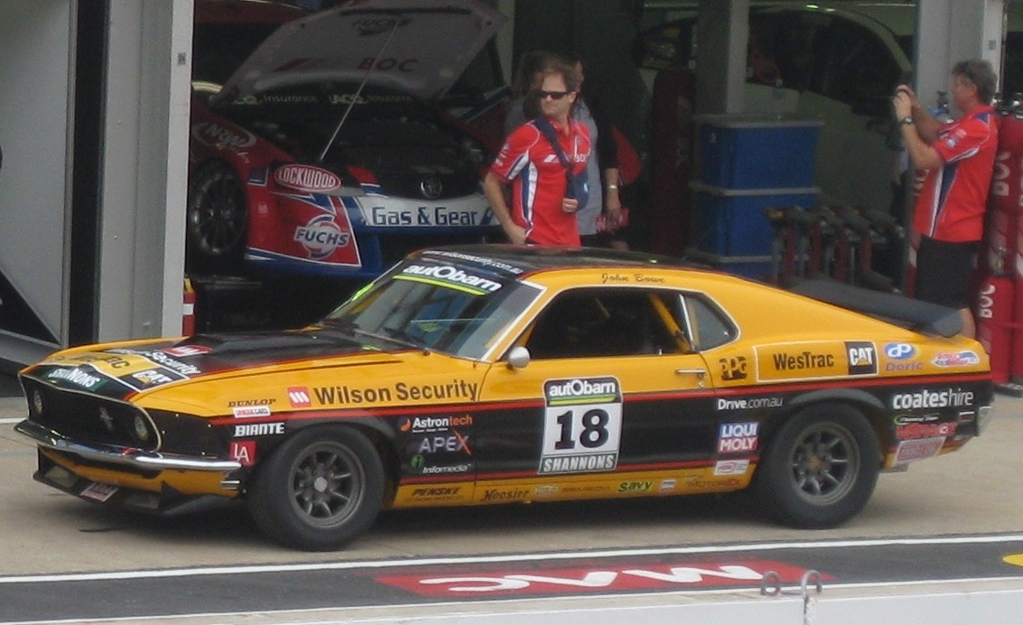 File 1969 Ford Mustang of John Bowe on race car circuit
