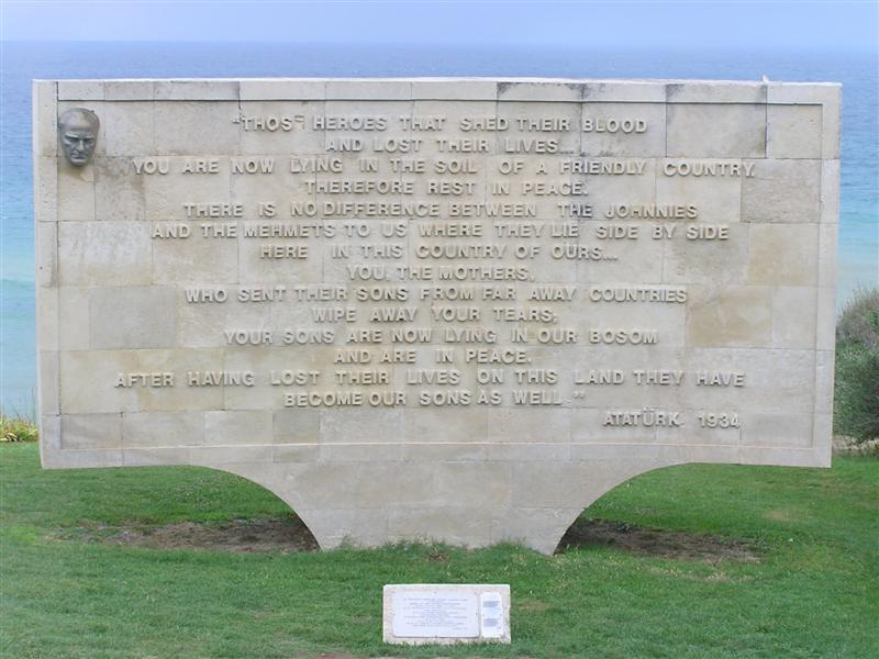 Memorial at Anzac Cove, commemorating the loss of thousands of Ottoman and ANZAC soldiers in Gallipoli.