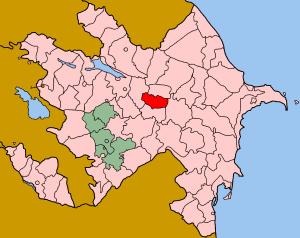 Map of Azerbaijan showing Ucar rayon