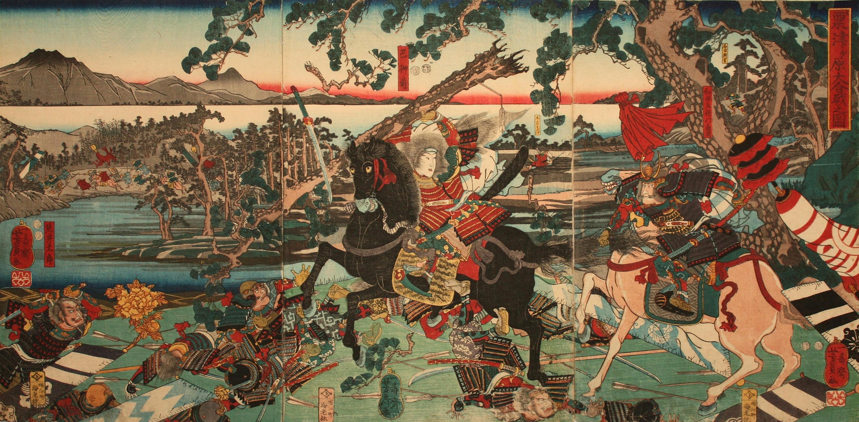 Utagawa Yoshikazu's rendition of the Battle of Awazu with Tomoe front and center.