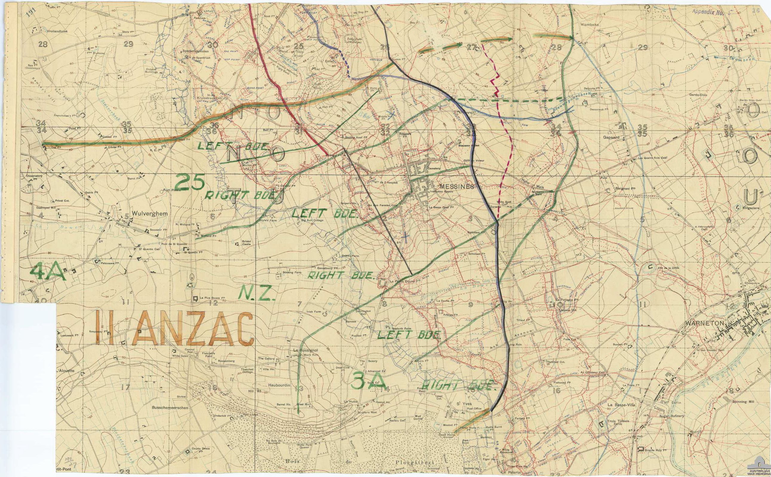 File:Battle of Messines - II ANZAC Corps attack plan down to brigade ...