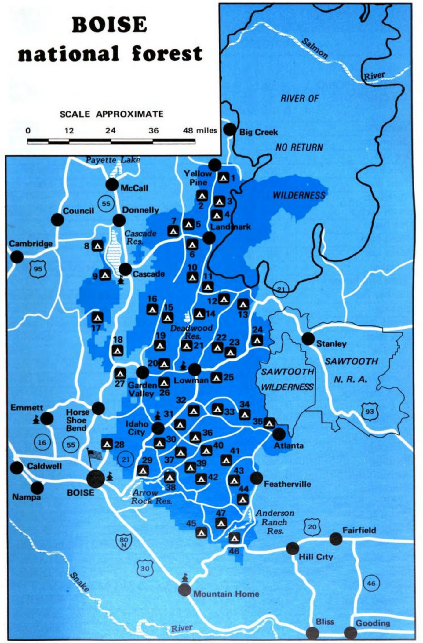 File:Boise National Forest campgrounds map 1981.png ...