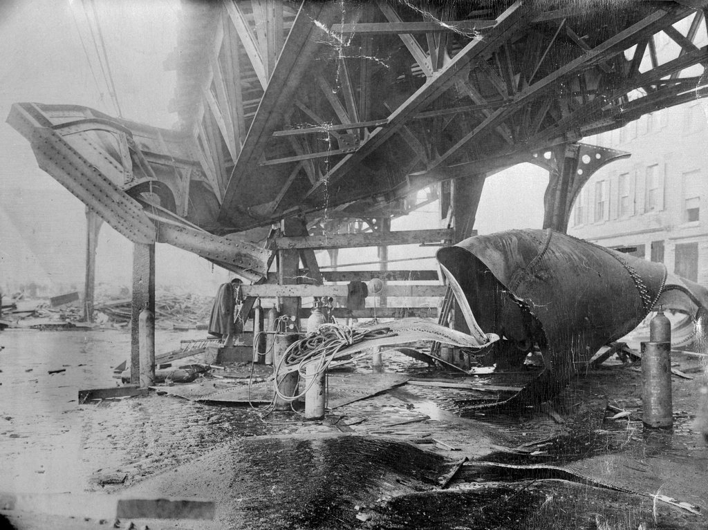 Boston Post, Molasses, Flood, boston, massachusetts, damage, railway, elevated