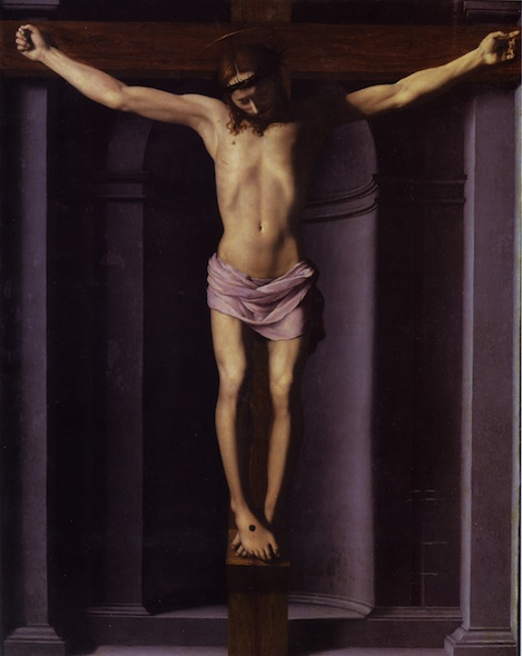 A painting of Jesus Christ crucified