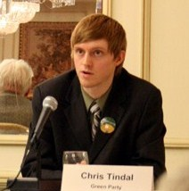 Tindal at the 2008 candidates' debate for the Toronto Centre riding