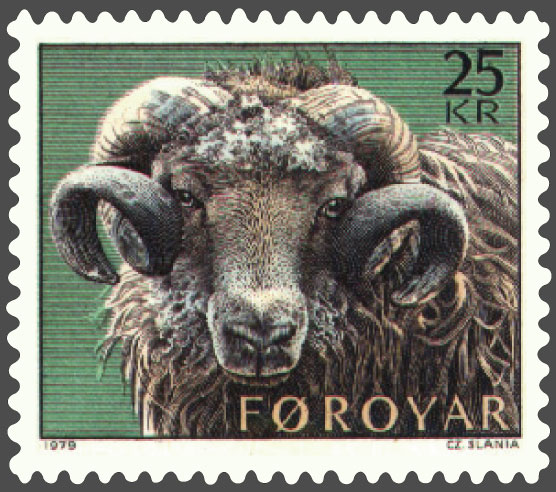 a stamp with a curly-horned ram on it