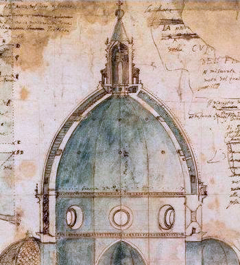 Section of Brunelleschi's dome drawn by the architect Cigoli (c. 1600) - Architecture
