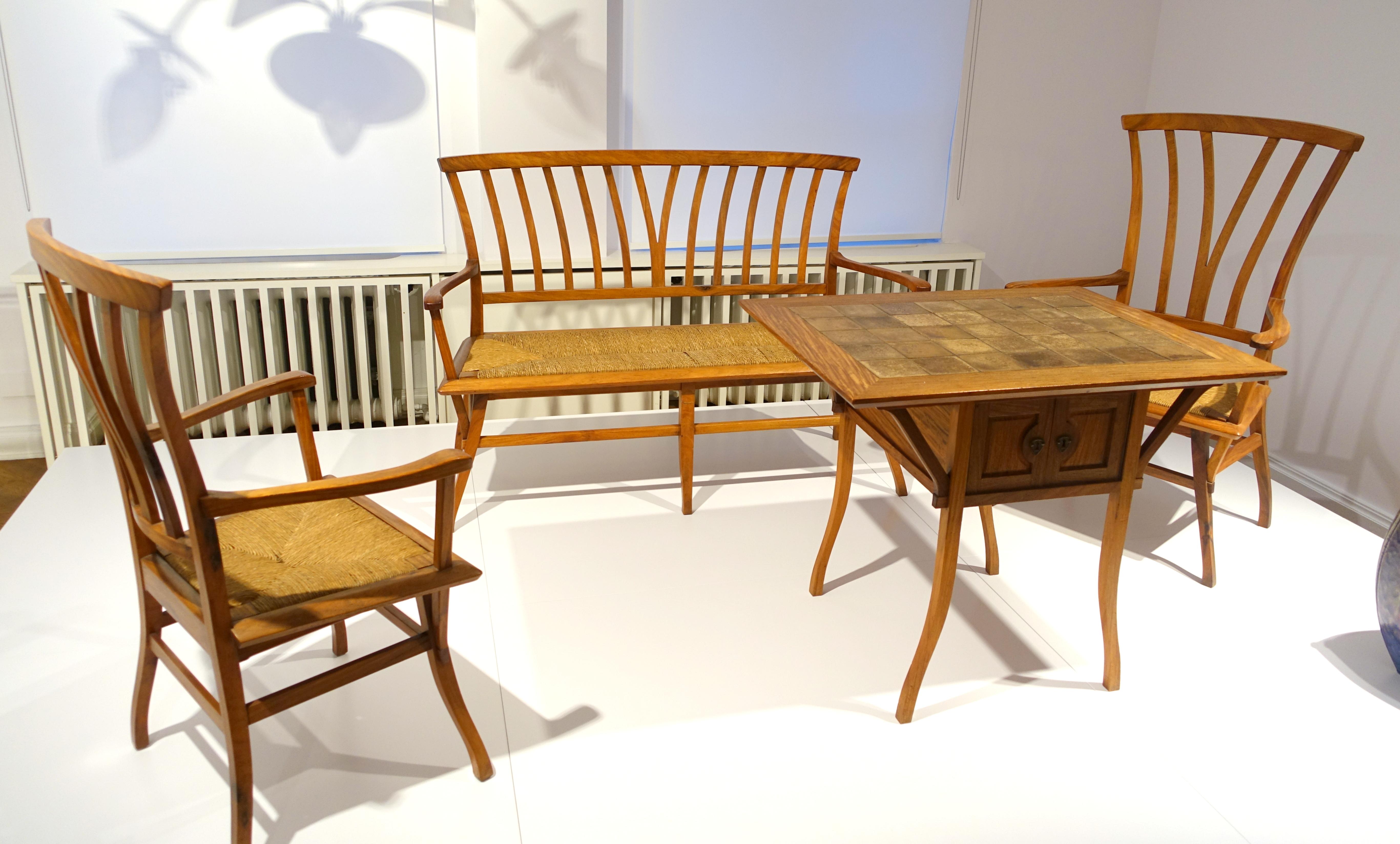File Furniture From The Bloemenwerf House Henry Van De Velde 1895 Bubinga Wood Cane Ceramic