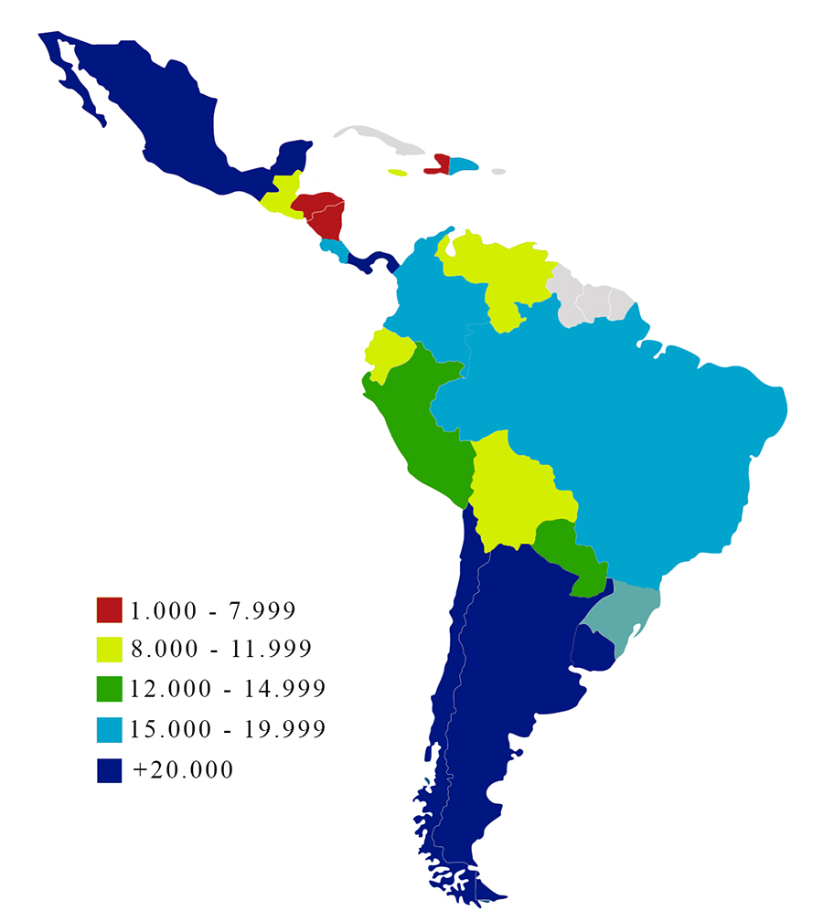 List Of Latin American And Caribbean Countries By Gdp Ppp Wikipedia
