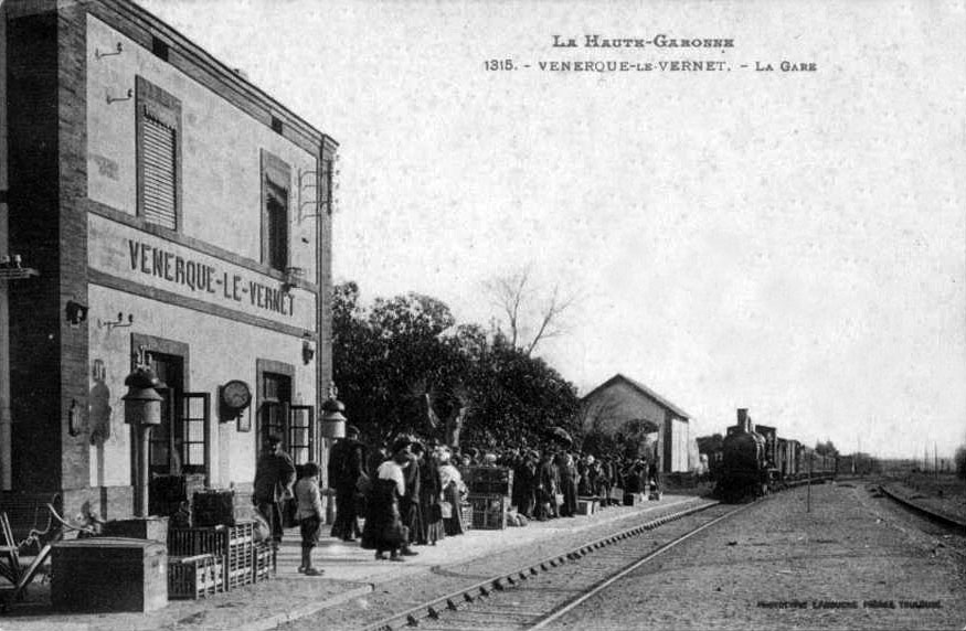 Le bâtiment voyageurs, le quai et la voie avec un train à vapeur entrant en gare vers 1900.