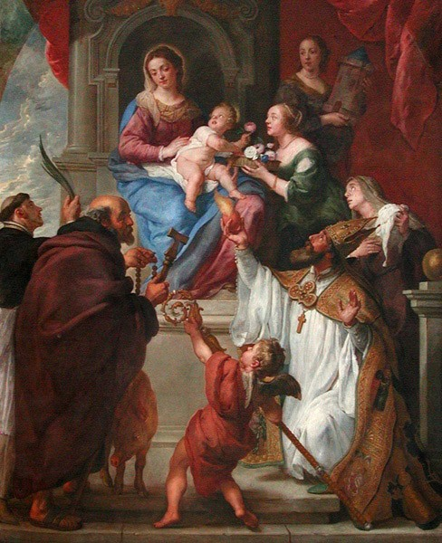 The Virgin and Child with the Saints Dominic, Anthony, Augustine, Monica, Dorothea, and Barbara