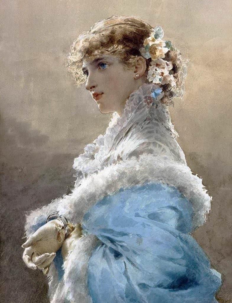 Gemälde - Mädchen in blauen Kleid - Edoardo Tofano.jpg