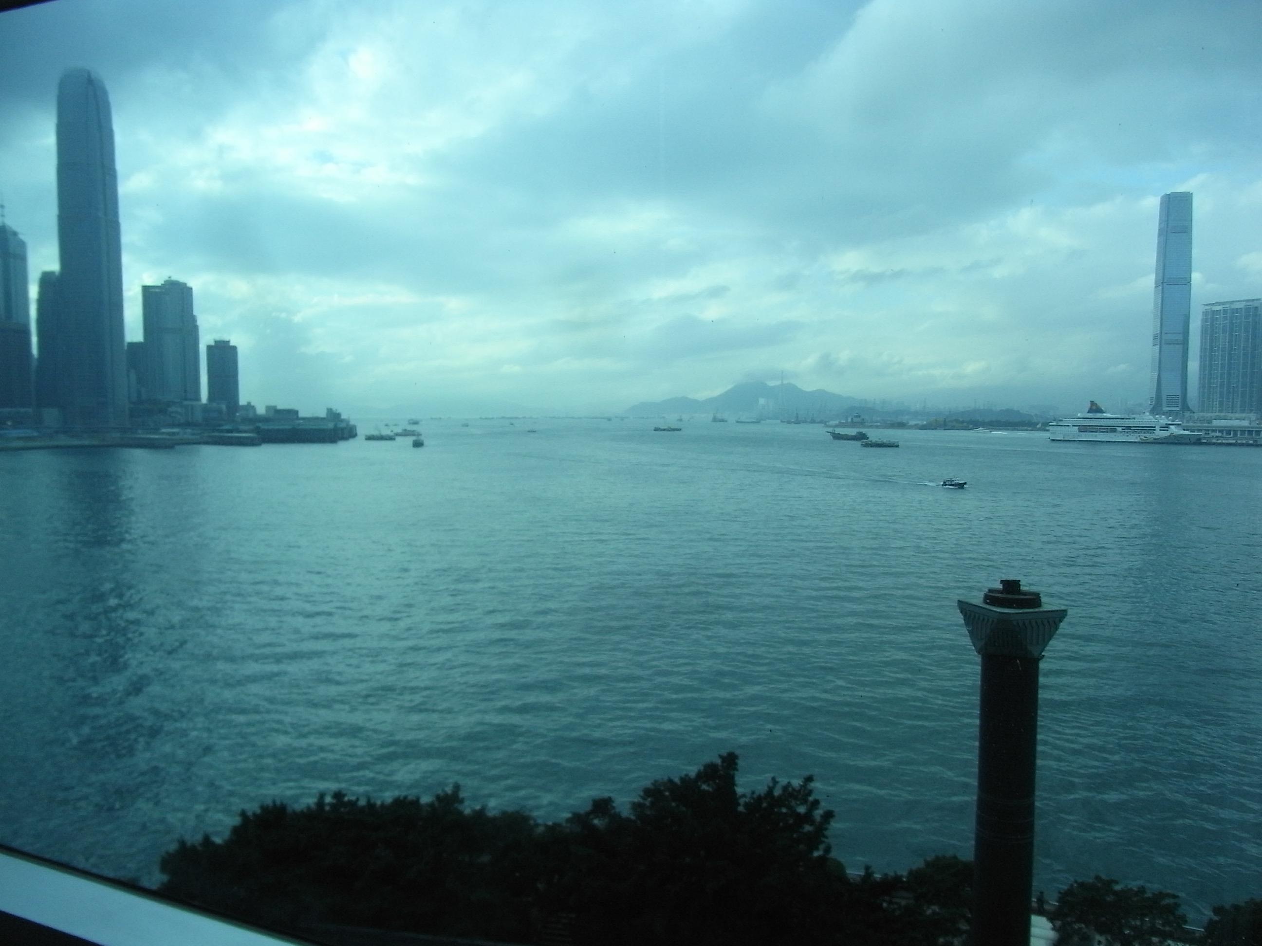 file hkcec wan chai glass wall window view rainy victoria harbour