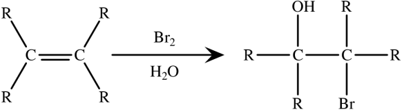 Formation of a halohydrin from an alkene using an aqueous bromine solution