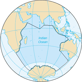 The Indian Ocean, according to the CIA The World Factbook (blue area), and as defined by the IHO (black outline - excluding marginal waterbodies). Indian Ocean - en IHO.png