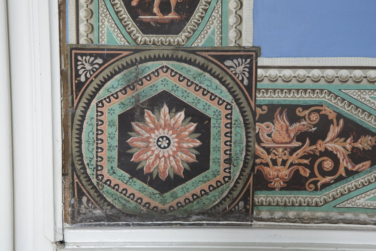 File interieur detail van wand in de blauwe kamer op de verdieping heeze 20532010 - Blauwe kamer ...