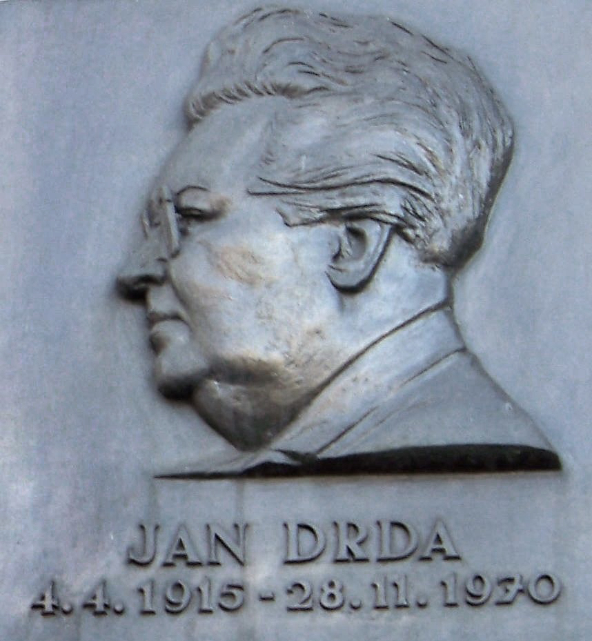 Plaque for Jan Drda in [[New Town, Prague