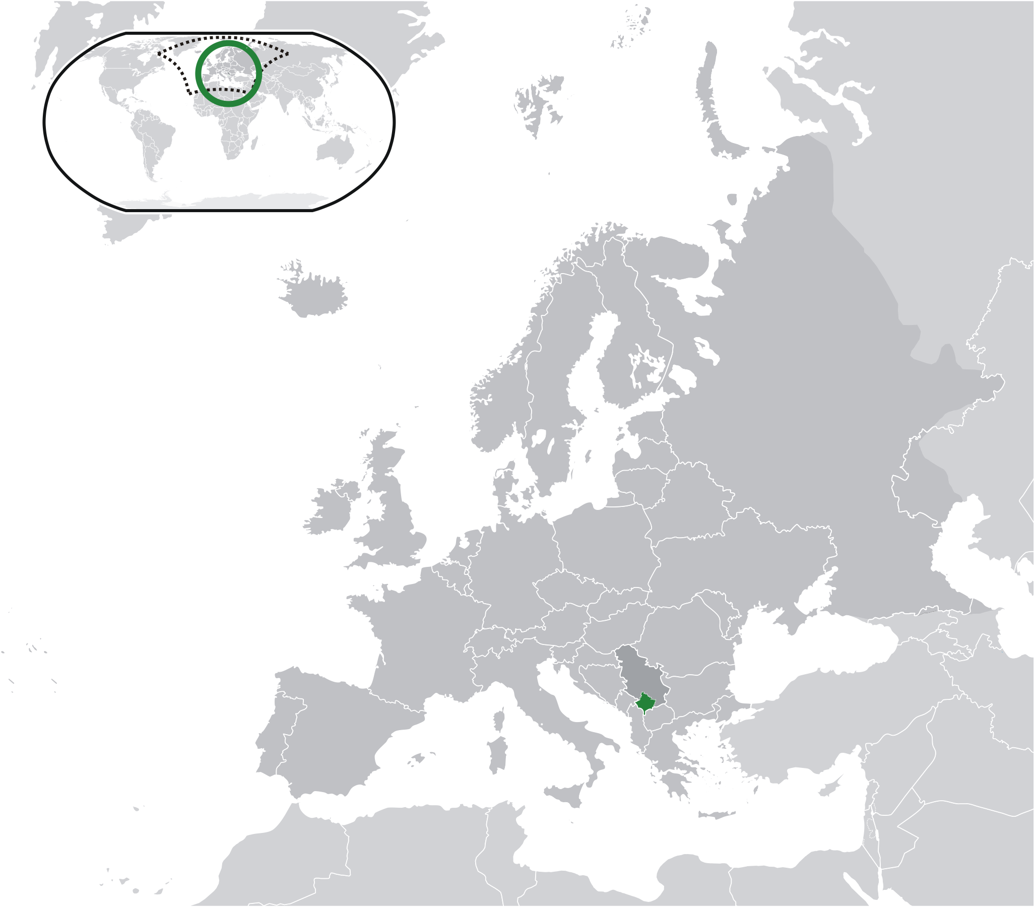Location of Kosovo within Europe