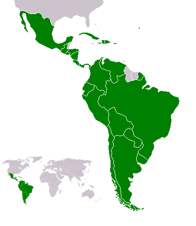Latin American countries (green) in the Americas Map-Latin America2.png