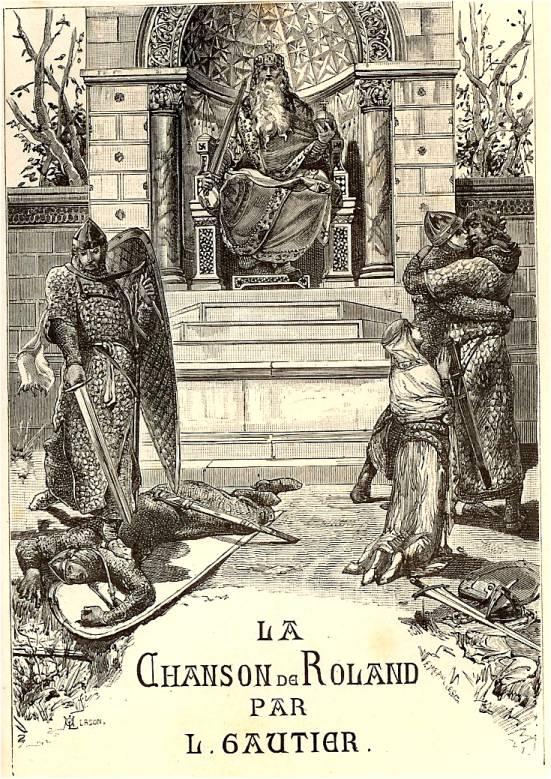 Illustration de la couverture d'une édition de la chanson. Charlemagne surplombe, assis sur un trône en haut de marches, des chevaliers.