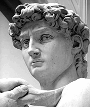 Face of Michelangelo's David sculpture