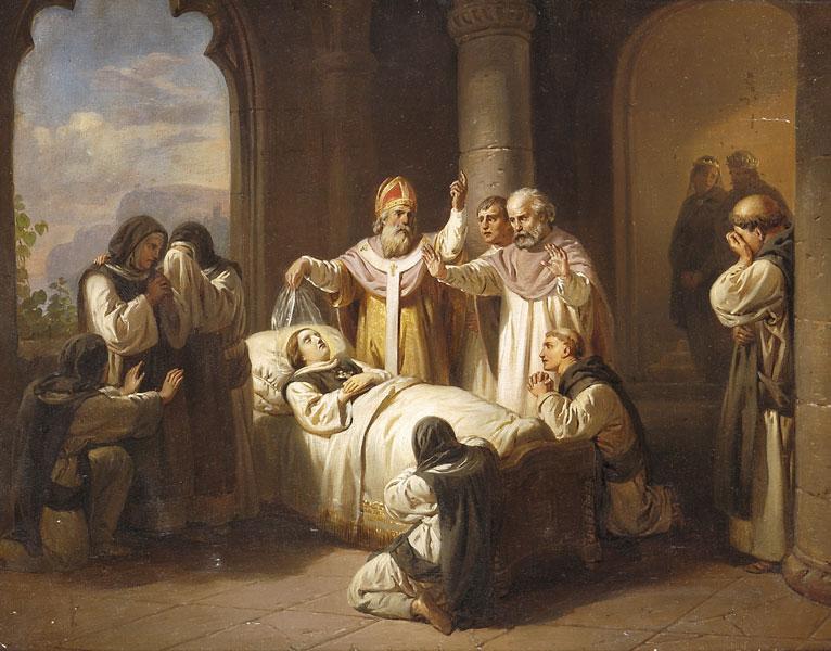 József Molnár (1821-99): Den hellige Margaretas død (1857)