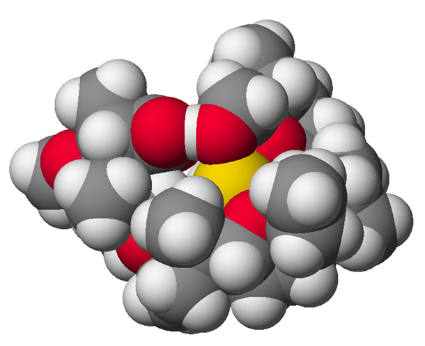 The structure of the complex of sodium (Na+, shown in yellow) and the antibiotic monensin-A.