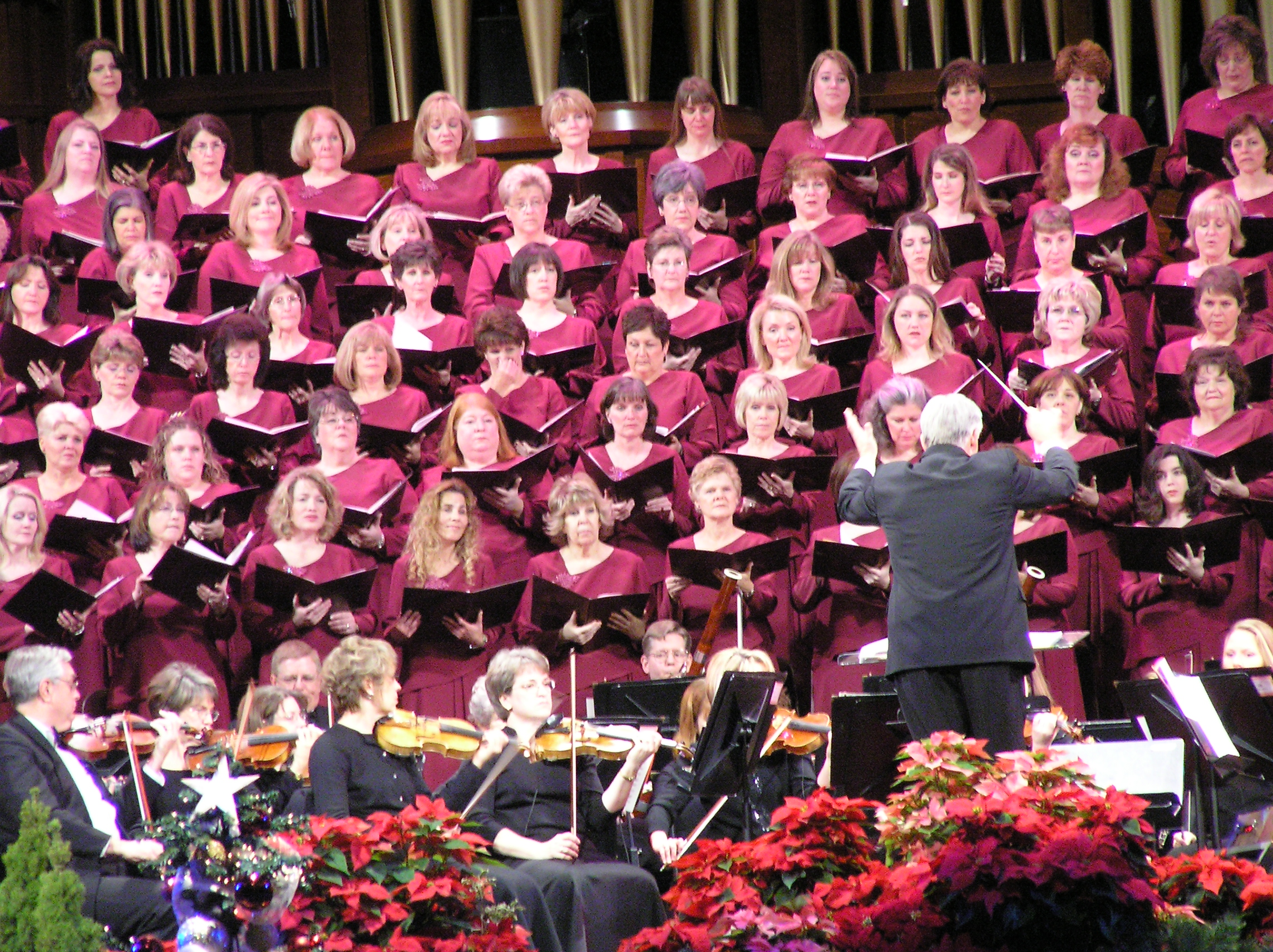 The Choir and Orchestra at Temple Square performing on December 3, 2005, in the LDS Conference Center under the direction of Craig Jessop