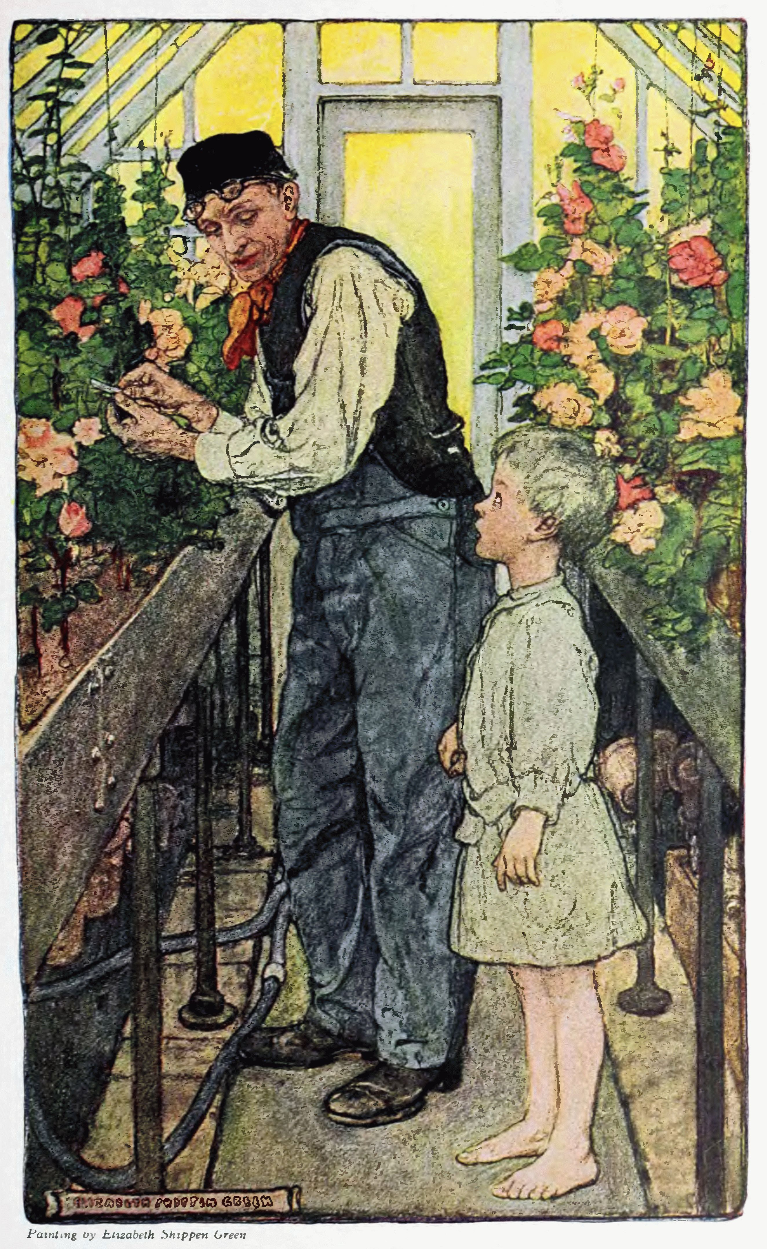 """An illustration from Gerry's """"The Flowers"""" ''Harper's Magazine'' (1908), by Elizabeth Shippen Green"""