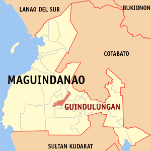 Map of Maguindanao showing the location of Guindulungan