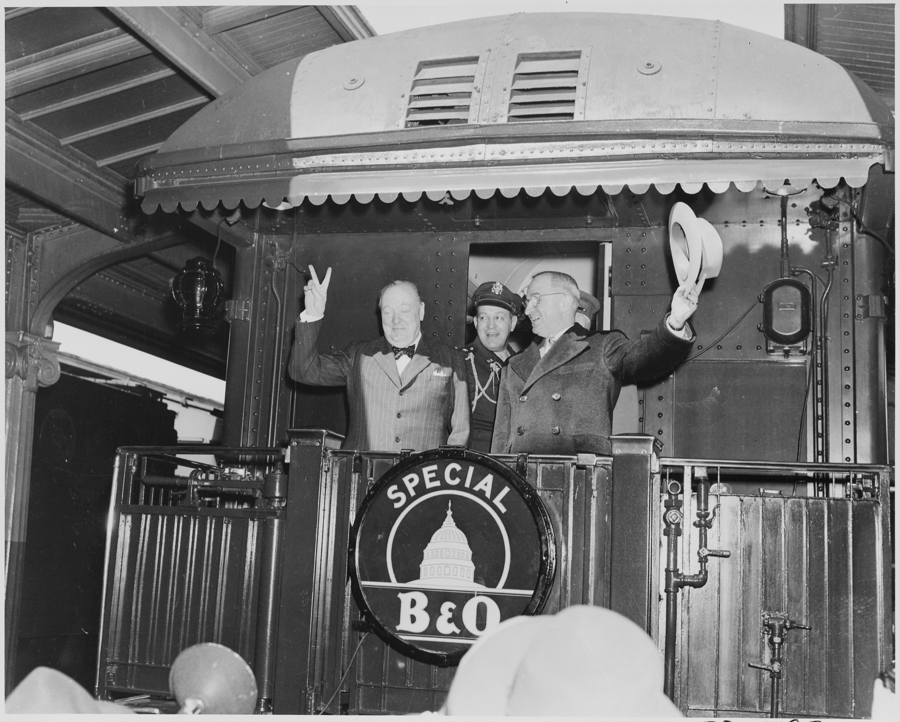 FilePhotograph Of President Truman Waving His Hat And Winston Churchill Flashing Famous