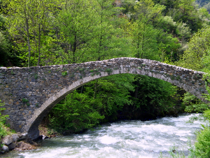 Romanesque Bridge of La Margineda over River Valira