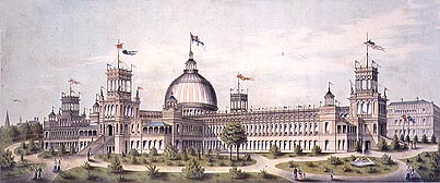 The Garden Palace was one of the grandest buildings of Australia, built for the 1879 Sydney Exhibition, after which it held important records and artefacts all of which were destroyed by fire in 1882 Powerhouse Garden Palace 1879.jpg
