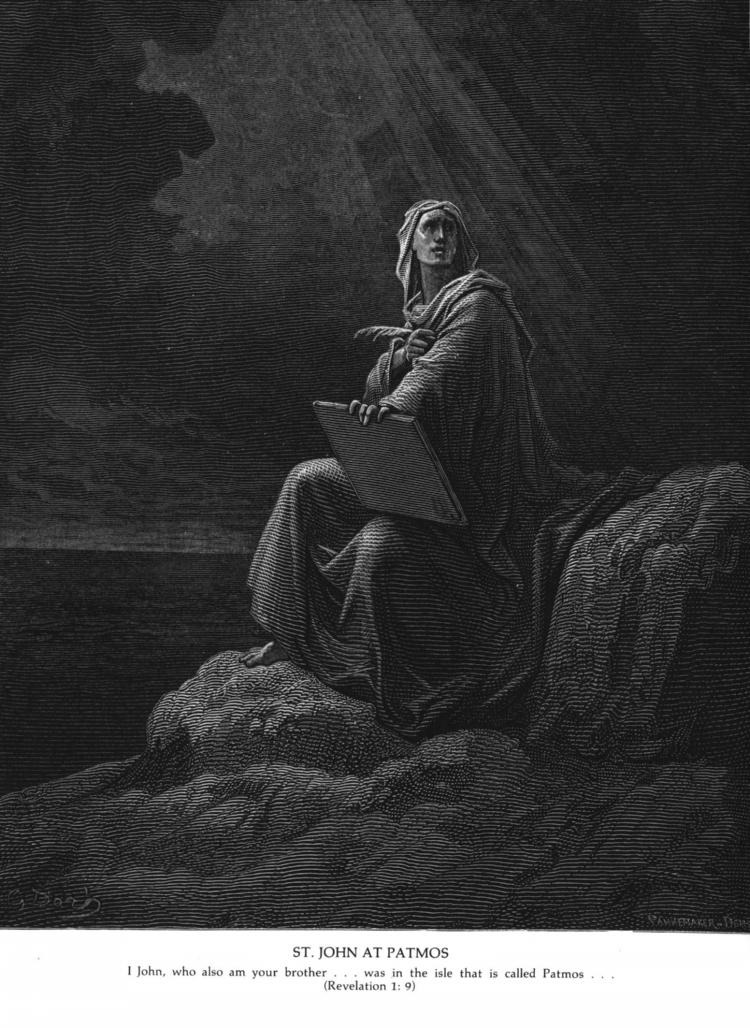 밧모섬에서의 사도 요한 (귀스타브 도레, Gustave Doré, 1866년)