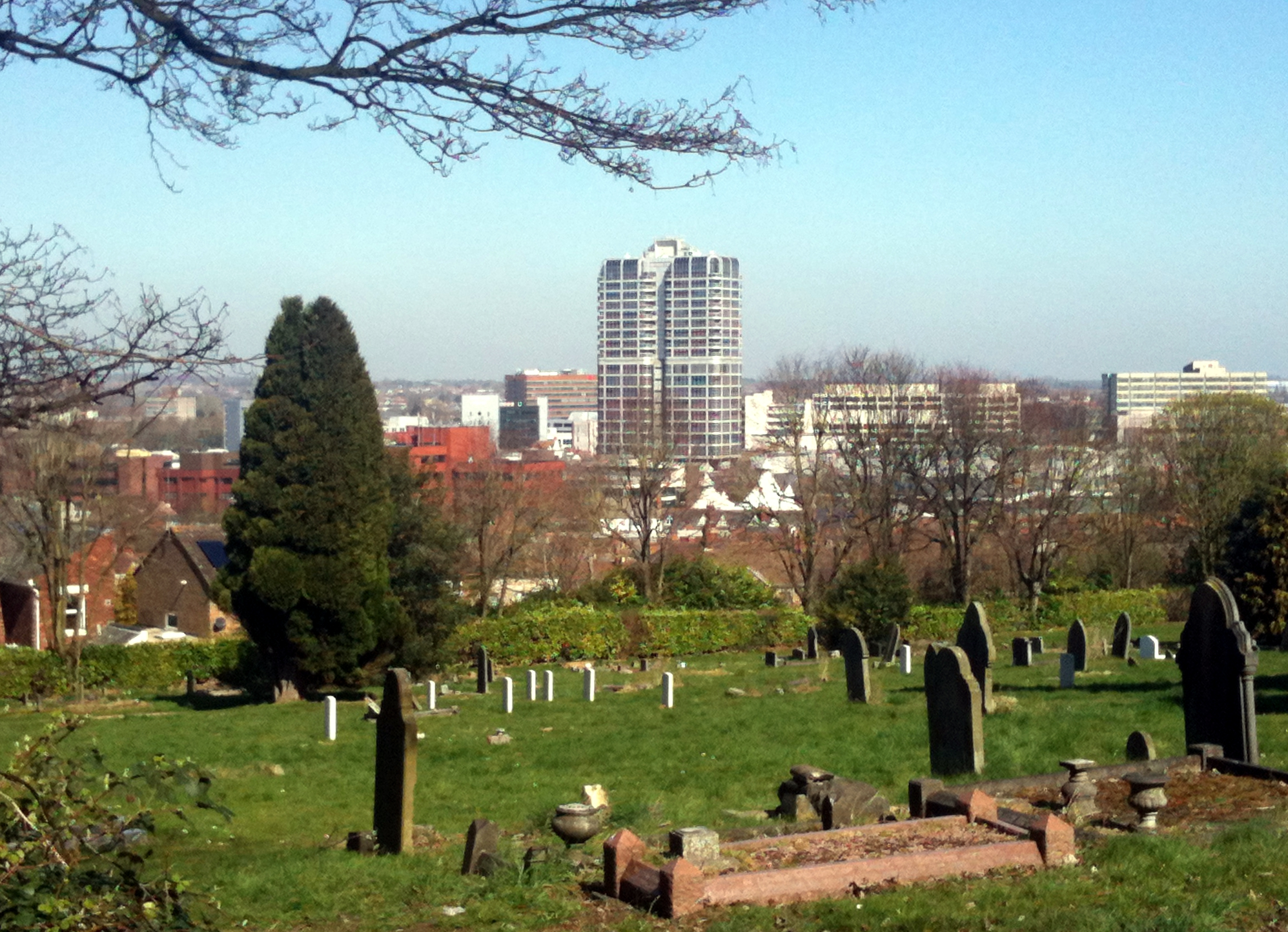 Swindon United Kingdom  city photos gallery : Swindon town centre, taken from Radnor Street Cemetery, Spring ...