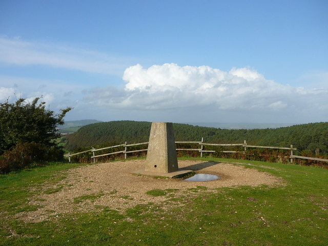 The trig point on Golden Cap with Langdon Hill behind. - geograph.org.uk - 1146057