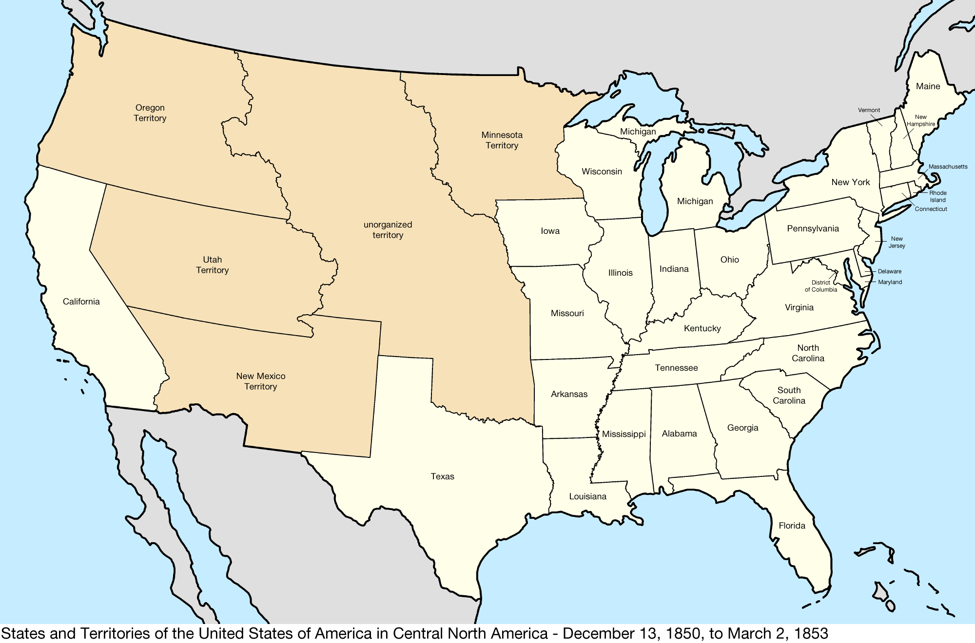 File:United States Central map 1850-12-13 to 1853-03-02.png ...