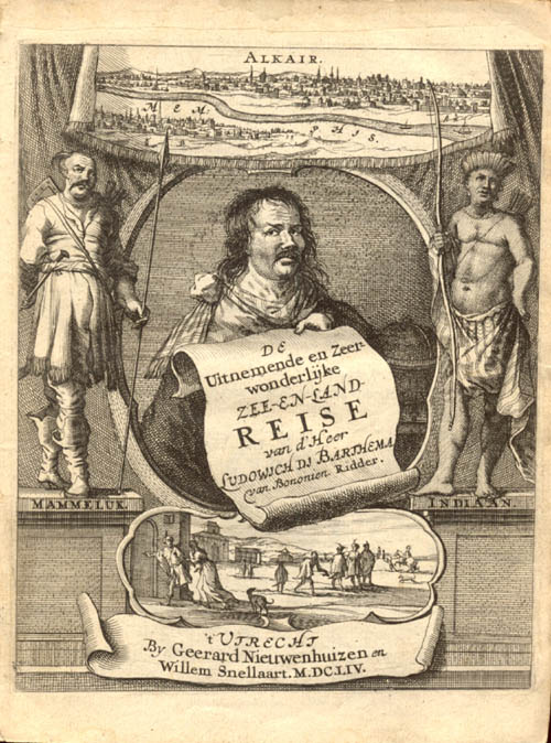 Dutch title page of Varthema's book ''Itinerario'', 1654