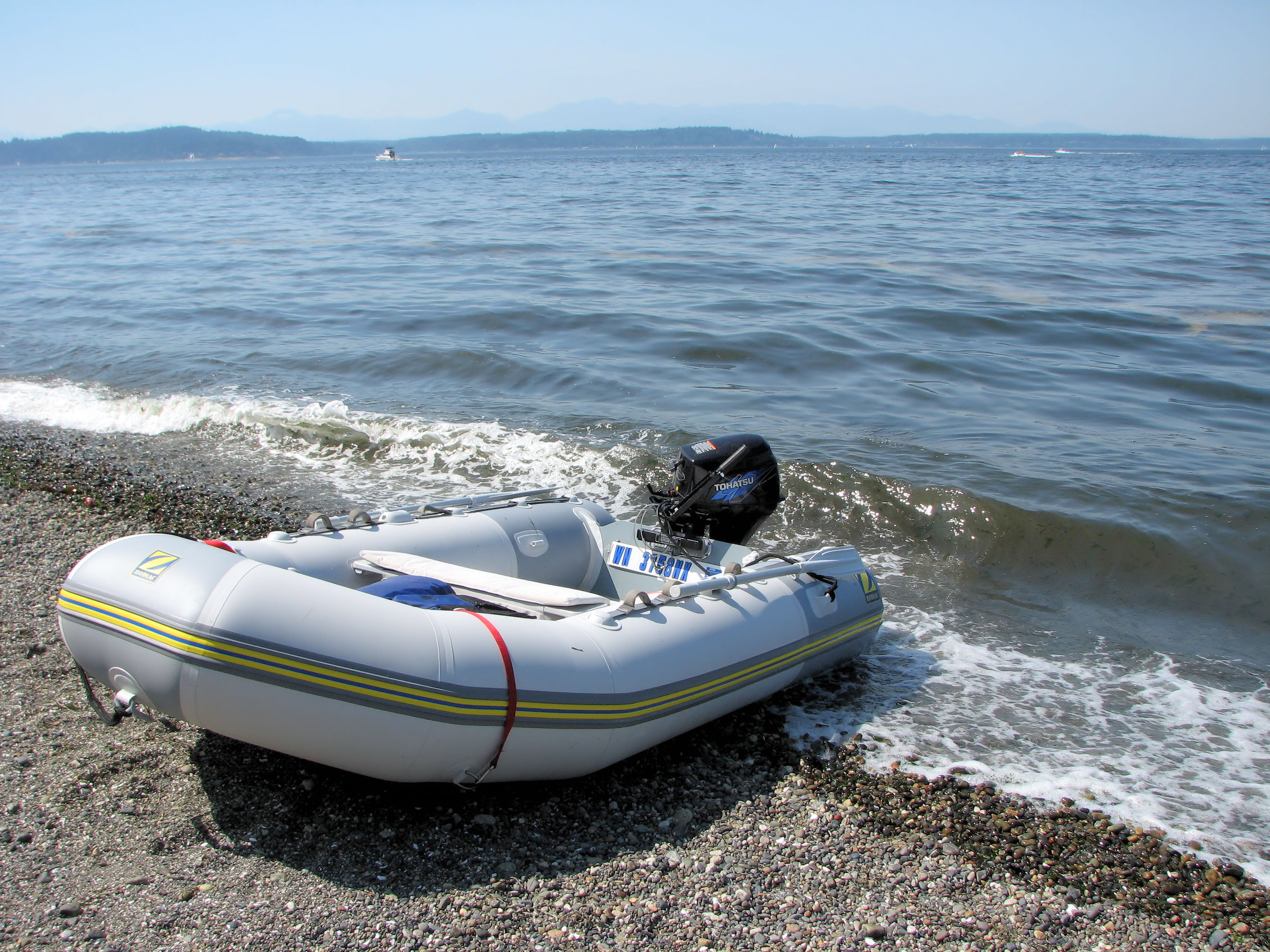An inflatable boat, like a Zodiac