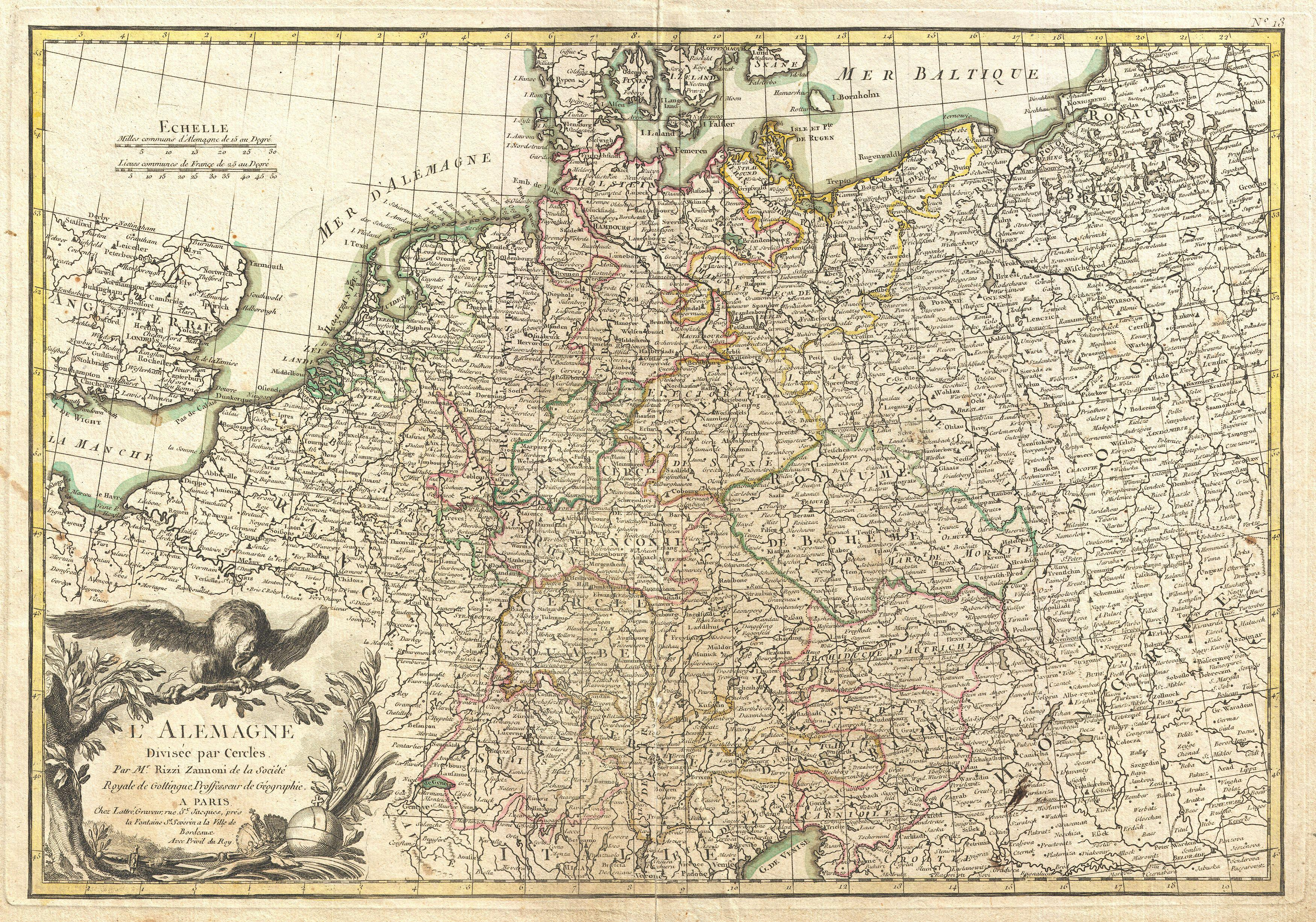 Map Of Germany Jpg.File 1771 Rizzi Zannoni Map Of Germany And Poland Geographicus