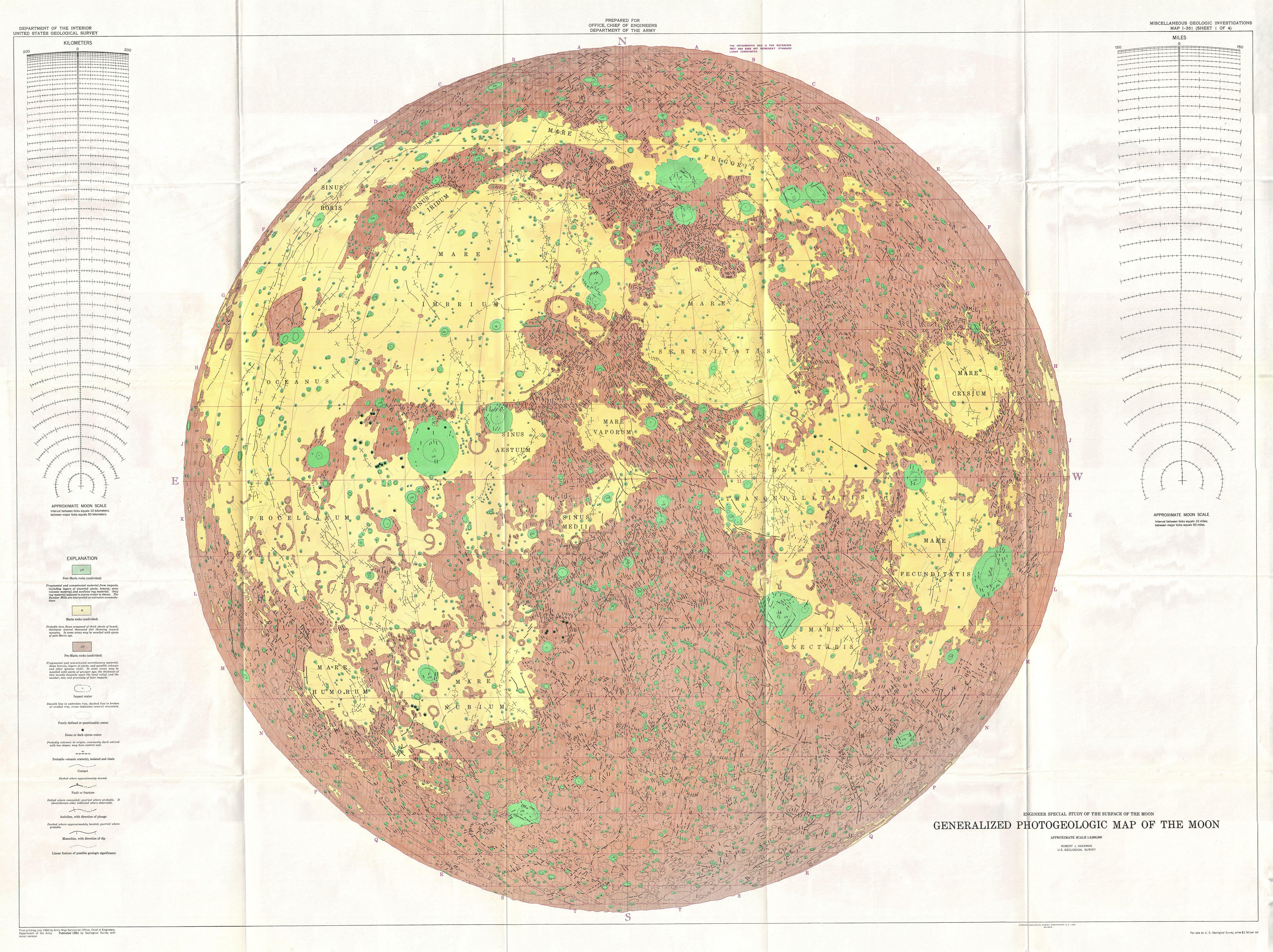 File1961 USGS Photogeologic Map of the Moon wall map