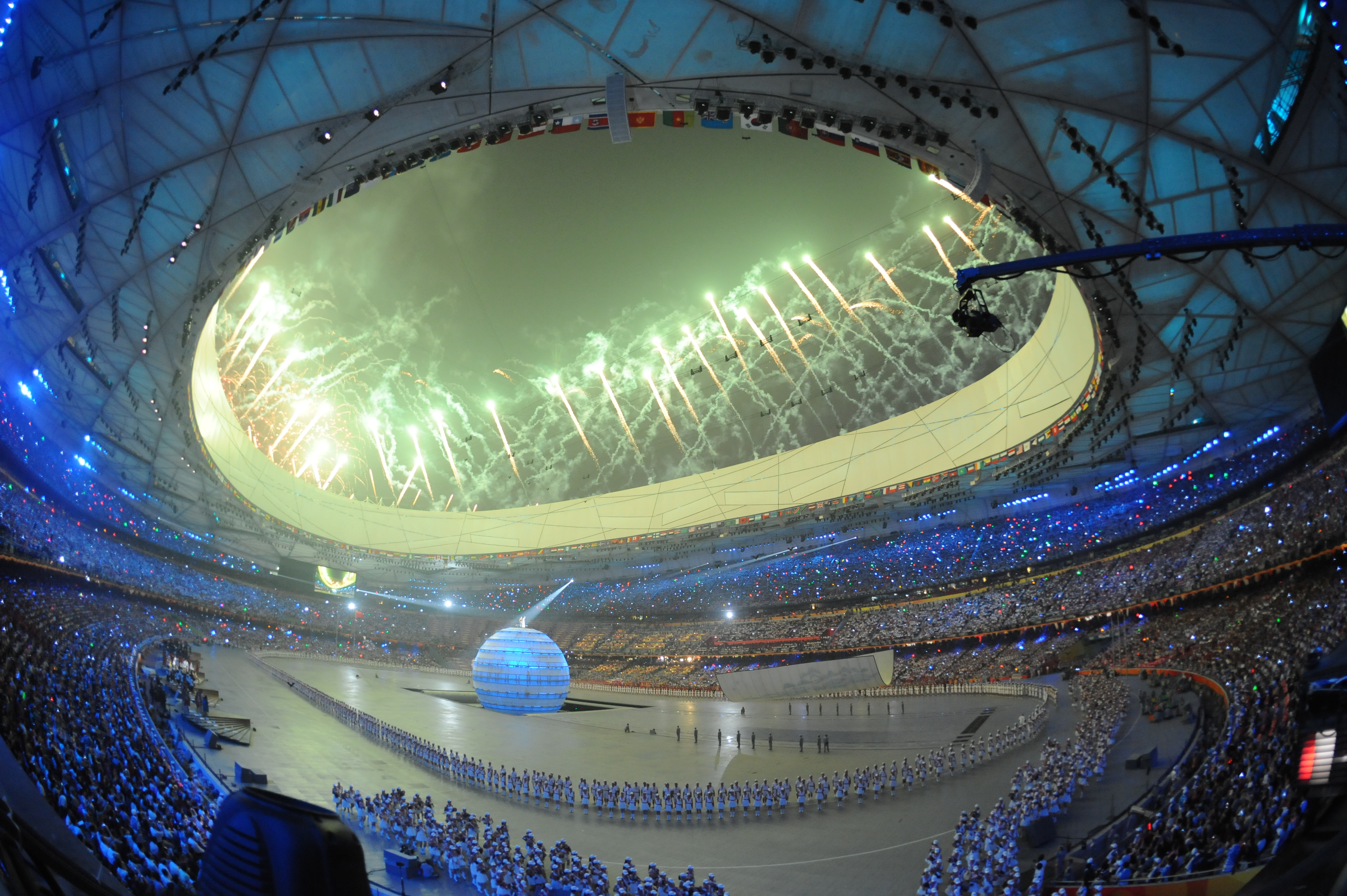 The march of nations featured Olympic athletes from 205 countries, led into the stadium by Greece (in accordance with tradition). The host team from China