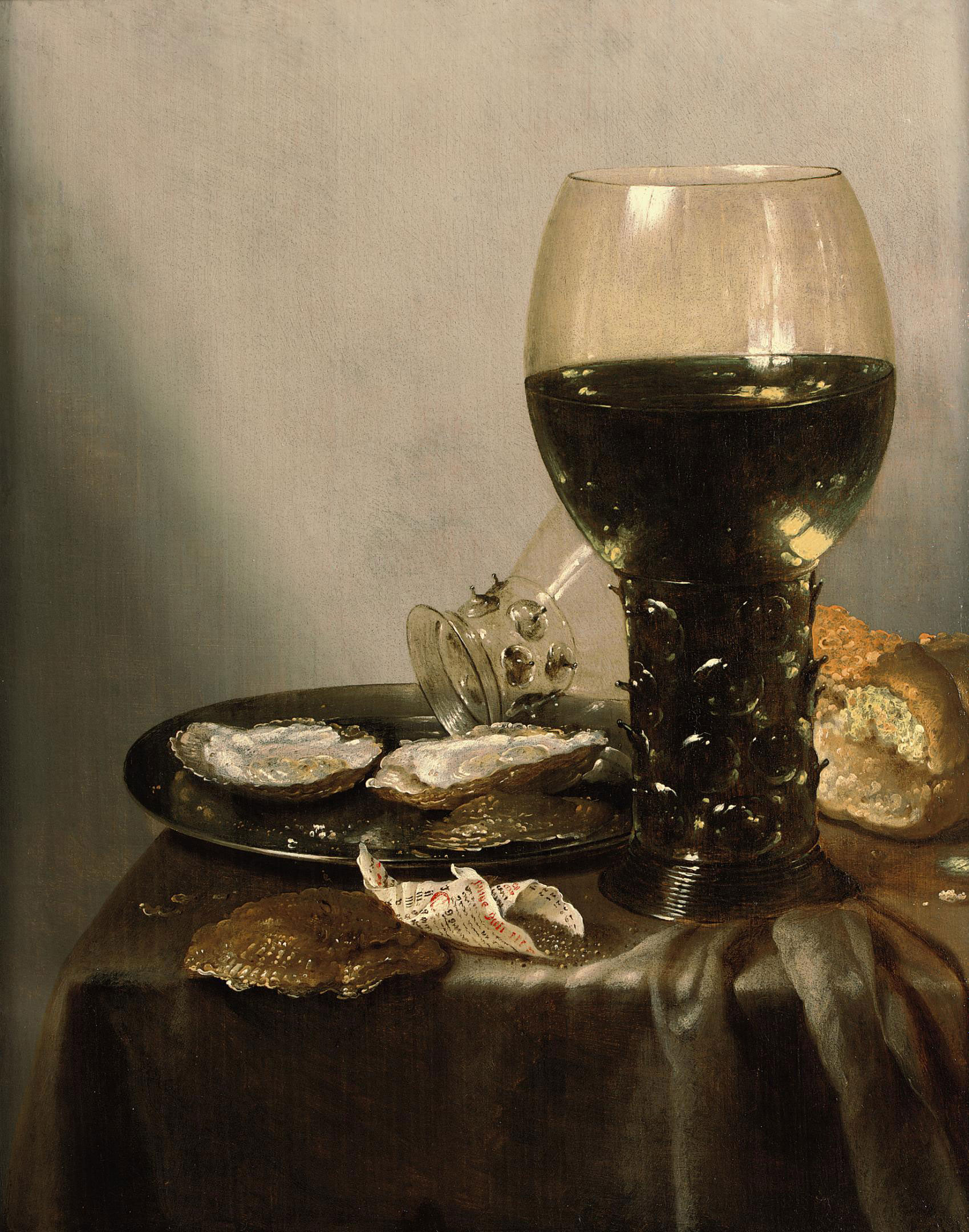 File:Adriaen Jansz Kraen - still life with roemers oysters bread and pepper.jpg