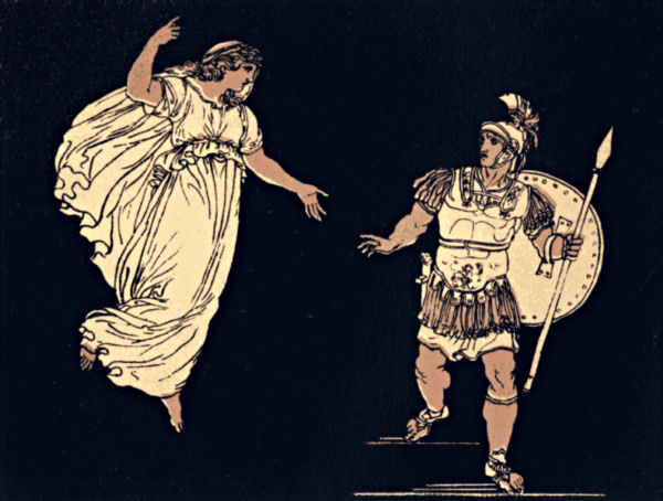 Aeneas and the ghost of his wife, Creusa