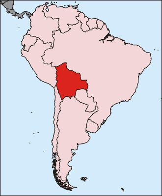 Map of South America, Bolivia highlighted