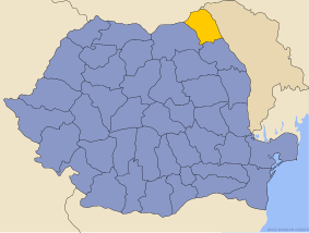 Administrative map of Руминия with Ботошан county highlighted